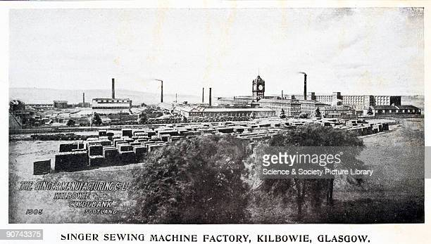 Exterior view of The Singer Sewing Machine Factory at Kilbowie near Glasgow in Scotland Isaac Merritt Singer designed the first practical lockstitch...