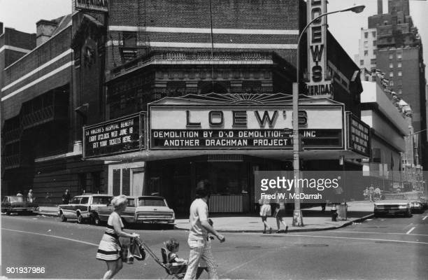 Exterior view of the soontobedemolished Loew's Sheridan Theatre New York New York March 7 1969 The marquee advertises 'Guess Who's Comign to Dinner'...