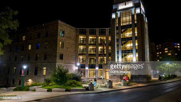 Exterior view of the Spruce Hall at the campus of Indiana University where some students are being quarantined after the first week of fall classes...