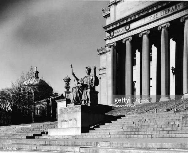 Exterior view of the steps leading up to the Low Memorial Library on the campus of Columbia University New York New York late 1900s The statue 'Alma...