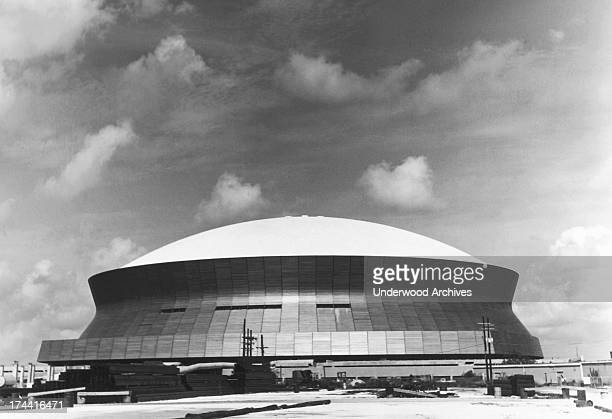 Exterior view of the Superdome stadium in New Orleans as it neared completion New Orleans Louisiana 1975