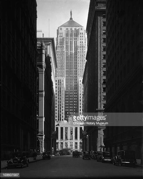 Exterior view of the then newly built Chicago Board of Trade building at 141 West Jackson Boulevard Chicago IL 1930 The view slooks southward down...