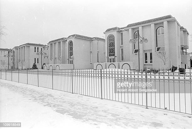 Exterior view of the townhouses within the family compound of Nation of Islam leader Elijah Muhammad in Chicago's Kenwood neighborhood ca 1970s The...