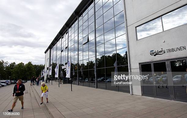A exterior view of the TREFOR Park Stadium during the Superliga match between Odense BK and Brondby IF at the TREFOR Park on August 72011 in...