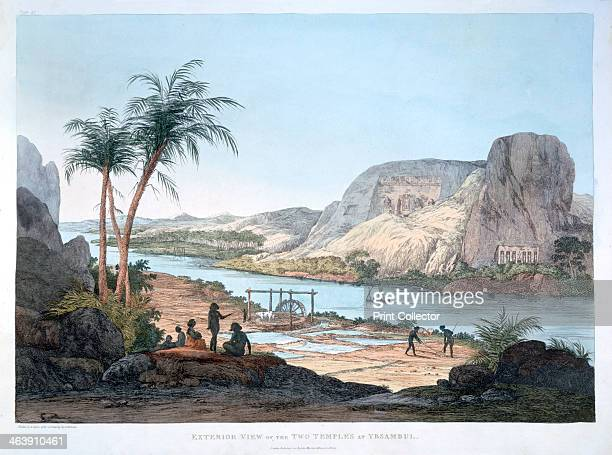 'Exterior View of the Two Temples at Ybsambul' Egypt 1820 The Italian explorer and antiquities collector Giovanni Belzoni explored Egypt and its...