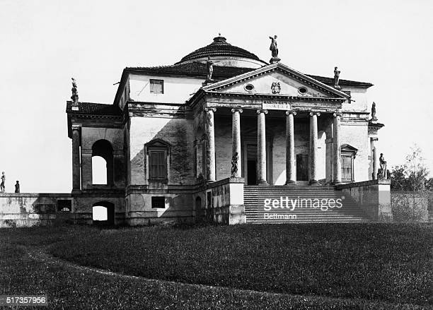 Exterior view of the Villa Rotonda Palladiana in Vicenza Italy designed by Andrea Palladio Undated photograph