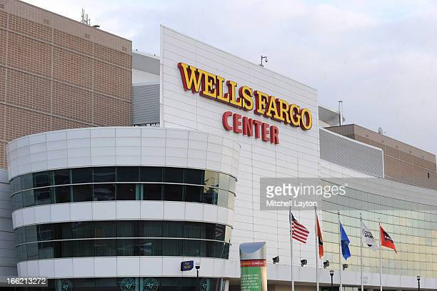 Exterior view of the Wells Fargo Center before the second round of the 2013 NCAA Men's Basketball Tournament game between the Albany Great Danes and...