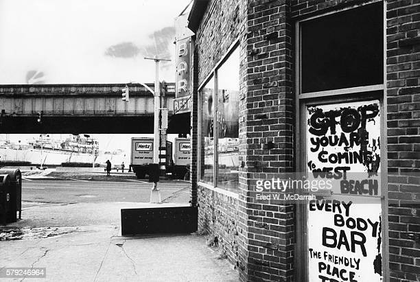 Exterior view of the West Beach Bar Grill New York New York January 17 1975