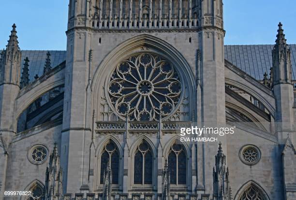 Exterior view of the western front of the National Cathedral in Washington DC June 20 2017 The official name of the Washington National Cathedral is...