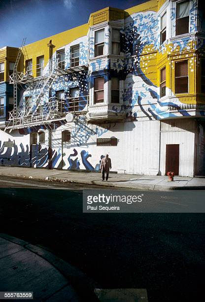 Exterior view of the Wieland Center building with Sachio Yamashita's wave mural on the corner of North Avenue and Wieland Street Chicago Illinois 1978