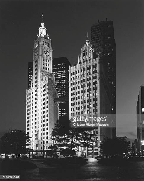 Exterior view of the Wrigley Building at night 400 North Michigan Avenue Chicago Illinois circa 1931