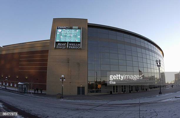 Exterior view of the Xcel Energy Center home of the Minnesota Wild taken on January 14 2003 in St Paul Minnesota