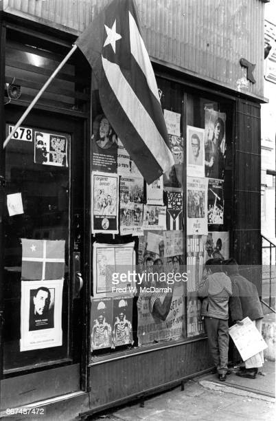 Exterior view of the Young Lords political headquarters in the Spanish Harlem neighborhood New York New York November 28 1969