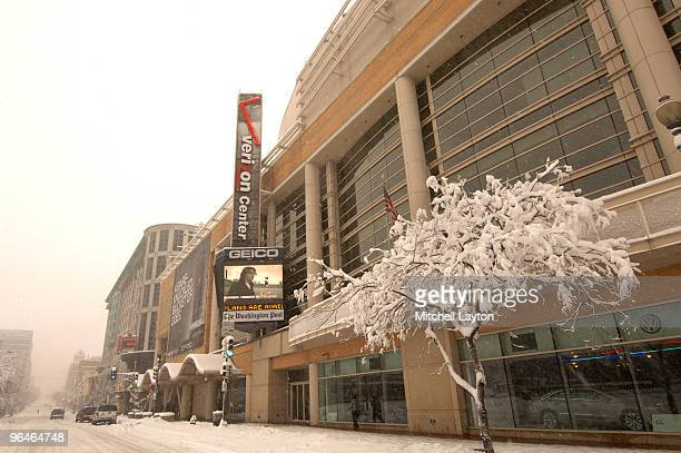 Exterior view of Verizon Center during the snow storm before a college basketball game against the Georgetown Hoyas and the Villanova Wildcats on...