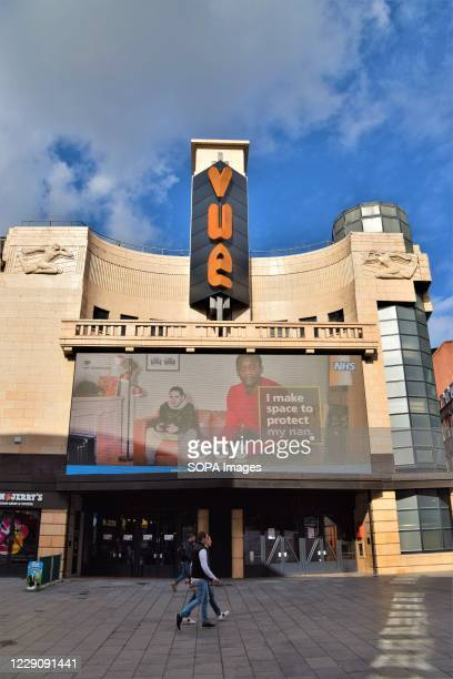 Exterior view of Vue Cinema in Leicester Square. While cinemas in the UK have reopened with limited seating after months of lockdown due to the...