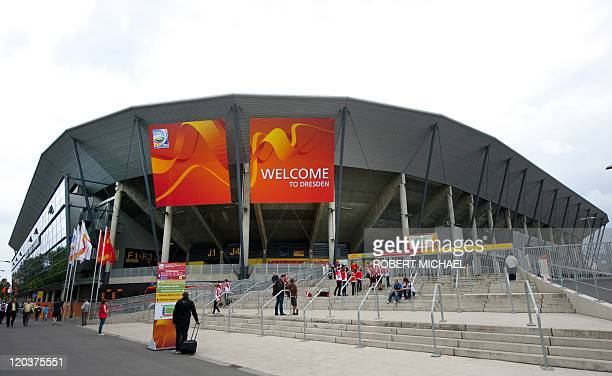Exterior view shows the Rudolf-Harbig-Stadium prior to the group B football match of the FIFA women's football World Cup New Zealand vs England on...