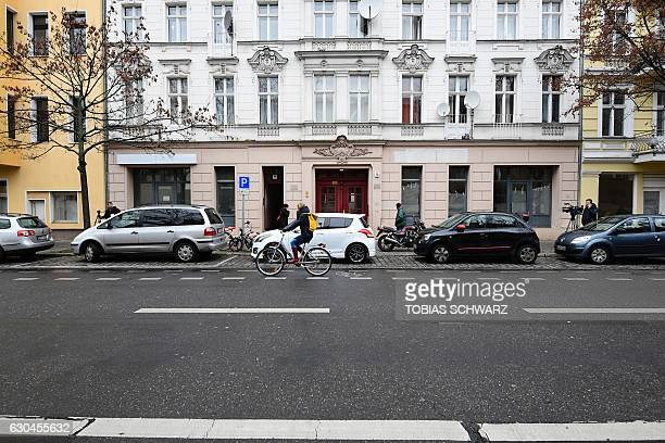 Exterior view taken on December 23 2016 shows a building in Berlin in which a mosque was installed where Tunisian Anis Amri the suspected Christmas...