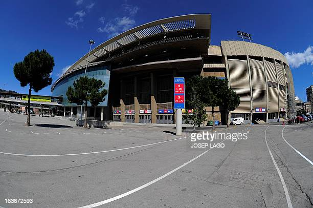 Exterior view taken on March 14 2013 of the Camp Nou stadium in Barcelona AFP PHOTO / JOSEP LAGO