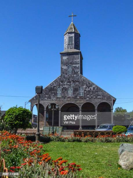 Exterior view The Church of Saint Mary of Loreto Achao Quinchao Island was built in 1730 and declared a National Monument of Chile in 1951 The wooden...