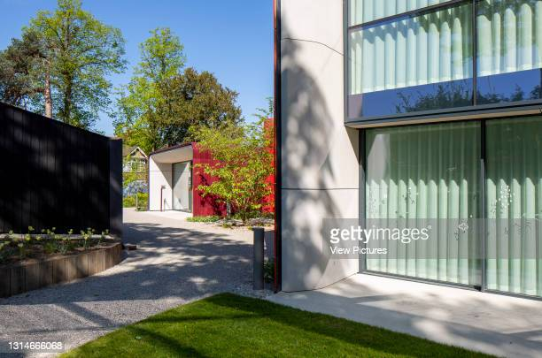 Exterior view towards main entrance. Maggie's Centre, Royal Marsden Hospital, Sutton, United Kingdom. Architect: Ab Rogers Design, 2019.