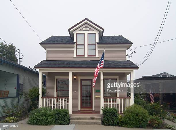 Exterior view two story American Craftsman styled bungalow at Pacific Grove