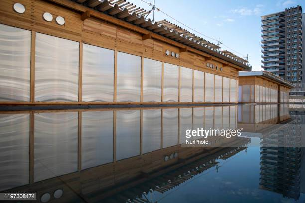 Exterior view view of the Village Plaza of the Athletes' Village, located in the Harumi waterfront district of Tokyo, on January 29, 2020. Japan. The...