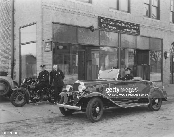 Exterior view with officers in police car and motorcycle of Valley Stream Police Station 5th Precinct Nassau County New York 1929