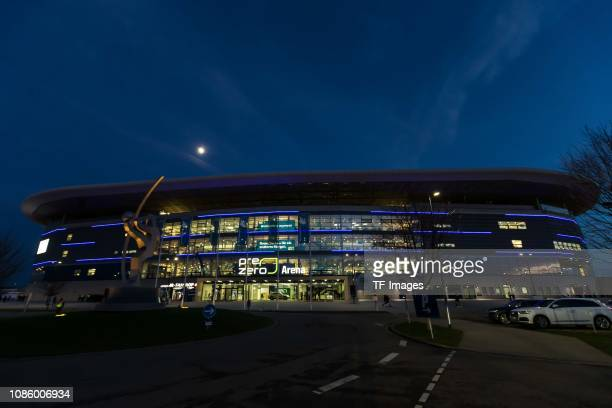 Exterior view with the logo of the new name giver of the stadium in Sinsheim during the Bundesliga match between TSG 1899 Hoffenheim and FC Bayern...