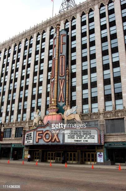 Exterior views of Charlie Sheen LIVE My Violent Torpedo of Truth Defeat is Not an Option Opening Night at the Fox Theatre on April 2 2011 in Detroit...