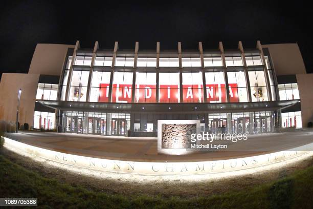 Exterior views of Simon Skjodt Assembly Hall before a college basketball game between the Marquette Golden Eagles and the Indiana Hoosiers at the...