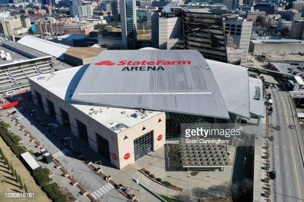 Exterior views of State Farm Arena on January 1, 2021 at State Farm Arena in Atlanta, Georgia. NOTE TO USER: User expressly acknowledges and agrees...