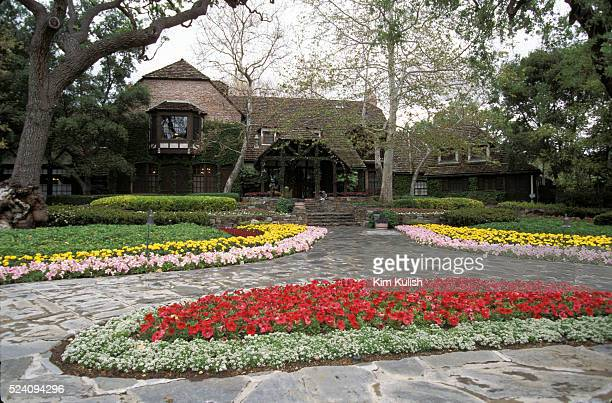 Exterior views of the entrance, house, statues and gardens at Michael Jackson's Neverland Ranch located near Los Olivos, California.