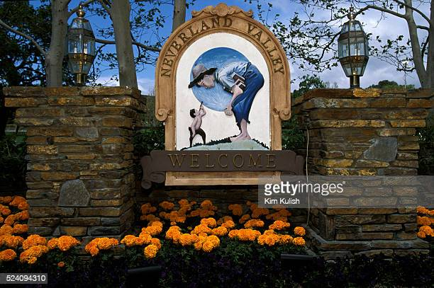 Exterior views of the entrance house statues and gardens at Michael Jackson's Neverland Ranch located near Los Olivos California