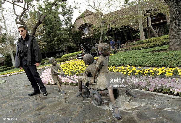 Exterior views of the entrance house statues and gardens at Michael Jackson's Neverland Ranch located near Los Olivos Calif in April 1995