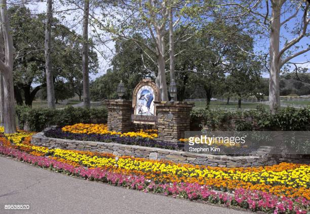 Exterior views of the entrance, house, statues and gardens at Michael Jackson's Neverland Ranch located near Los Olivos, Calif. In April 1995.
