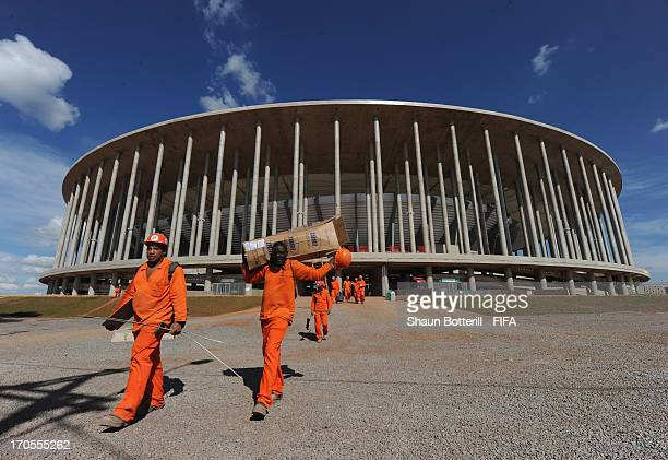 Exterior views of the National Stadium on June 13 2013 in Brasilia Brazil