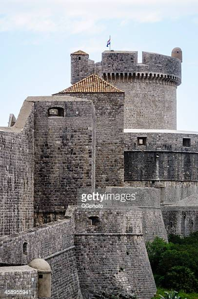 exterior walls of the city dubrovnik with minceta tower, croatia - ogphoto stock photos and pictures