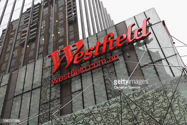 Exterior 'Westfield' signs during the stage one opening of the Westfield Sydney shopping complex on October 28 2010 in Sydney Australia The $12...