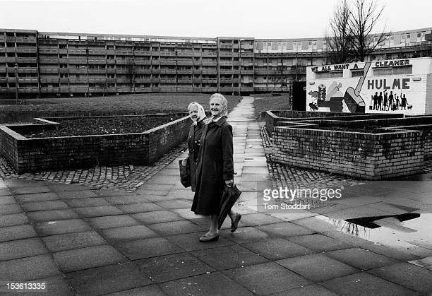 Exteriors of some of the the notorious high density council housing at Hulme crescents in south west Manchester The apartment blocks were built in...