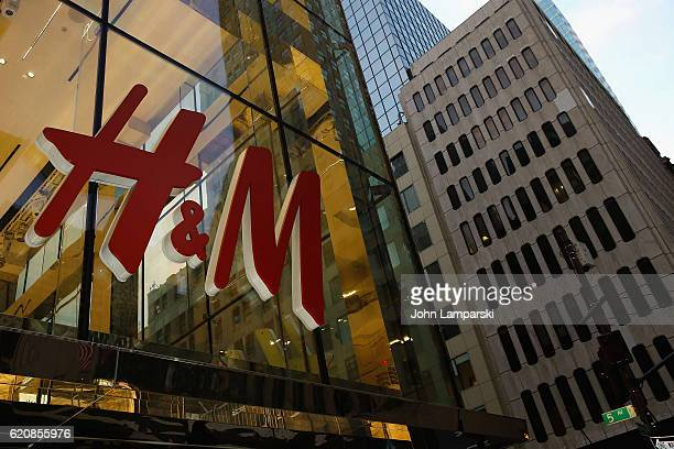 Exteriors of the HM store as KENZO x HM clothing line goes on sale at HM flagship Fifth Avenue store on November 3 2016 in New York City