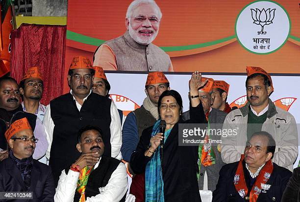 External Affairs Minister and BJP leader Sushma Swaraj addressing an election rally in support of party's candidate Anil Kumar Sharma from R K Puran...