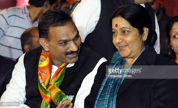 External Affairs Minister and BJP leader Sushma Swaraj during an election rally in support of party's candidate Anil Kumar Sharma from R K Puran...