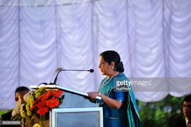 External Affairs Minister of India Sushma Swaraj giving speech during reception hosted at India House to mark 70 Years of India's independence at...