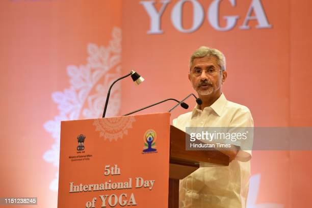 External Affairs Minister S Jaishankar speaks during the 5th International Yoga Day celebrations at Pravasi Bharatiya Kendra on June 21 2019 in New...