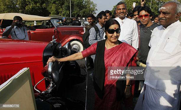 External Affairs Minister Sushma Swaraj along with Pon Radhakrishnan Minister of State for Road Transport Highways Shipping during the 1st IndiaNepal...