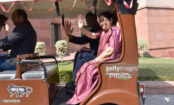 External Affairs Minister Sushma Swaraj and Ambassador of Senegal El Hadji Ibou Boye take an erickshaw ride during a handover ceremony to Senegal...