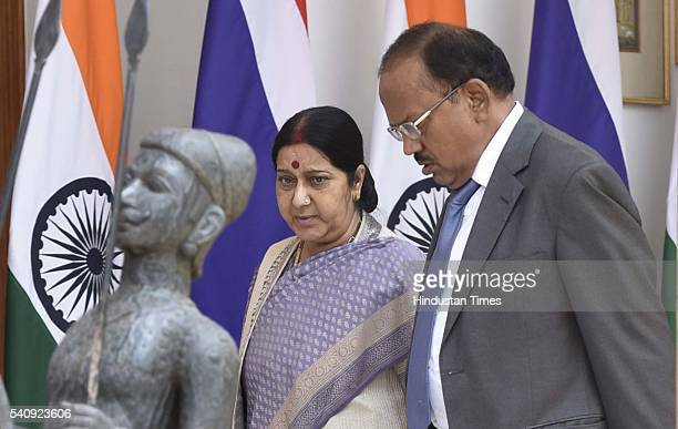 External Affairs Minister Sushma Swaraj and National Security Advisor Ajit Doval during a meeting of Prime Minister Narendra Modi with Thailand Prime...