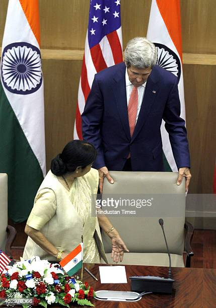 External Affairs Minister Sushma Swaraj and US Secretary of State John Kerry during the joint press conference after their meeting on July 31, 2014...