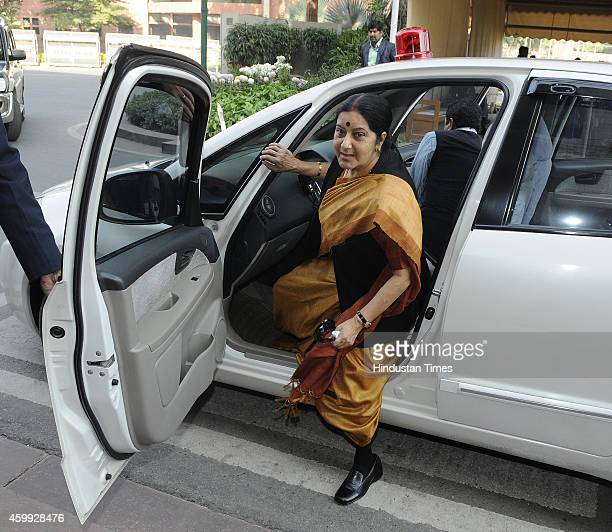 External Affairs Minister Sushma Swaraj arrives at Parliament House to attend Parliament Winter Session on December 4 2014 in New Delhi India Prime...