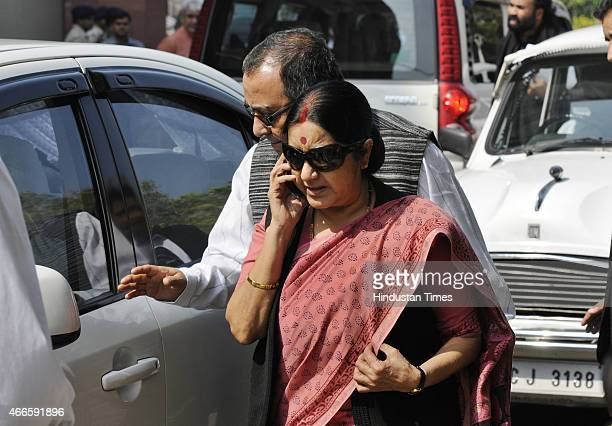 External Affairs Minister Sushma Swaraj arrives for BJP parliamentary board meeting at Parliament House on March 17 2015 in New Delhi India The BJP...